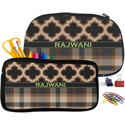 Moroccan & Plaid Neoprene Pencil Case (Personalized)