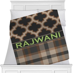 "Moroccan & Plaid Fleece Blanket - Twin / Full - 80""x60"" - Double Sided (Personalized)"