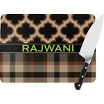 Moroccan & Plaid Rectangular Glass Cutting Board (Personalized)