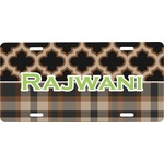 Moroccan & Plaid Front License Plate (Personalized)