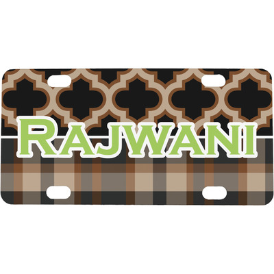 Moroccan & Plaid Mini / Bicycle License Plate (Personalized)