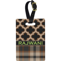 Moroccan & Plaid Rectangular Luggage Tag (Personalized)