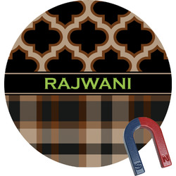 Moroccan & Plaid Round Magnet (Personalized)