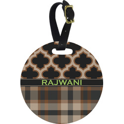 Moroccan & Plaid Round Luggage Tag (Personalized)