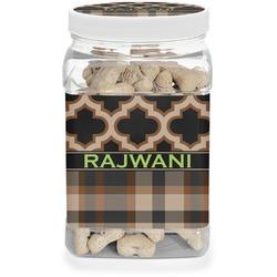 Moroccan & Plaid Pet Treat Jar (Personalized)