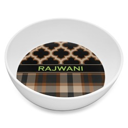 Moroccan & Plaid Melamine Bowl 8oz (Personalized)