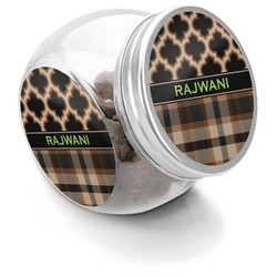 Moroccan & Plaid Puppy Treat Jar (Personalized)