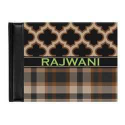 Moroccan & Plaid Genuine Leather Guest Book (Personalized)