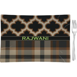 Moroccan & Plaid Rectangular Glass Appetizer / Dessert Plate - Single or Set (Personalized)