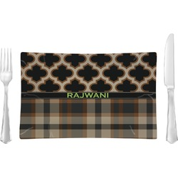 Moroccan & Plaid Rectangular Glass Lunch / Dinner Plate - Single or Set (Personalized)