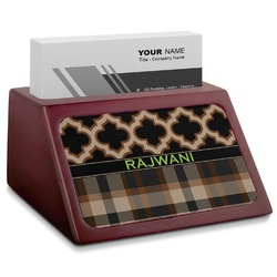 Moroccan & Plaid Red Mahogany Business Card Holder (Personalized)