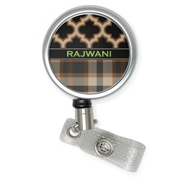 Moroccan & Plaid Retractable Badge Reel (Personalized)