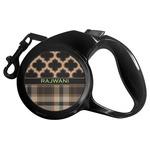 Moroccan & Plaid Retractable Dog Leash (Personalized)