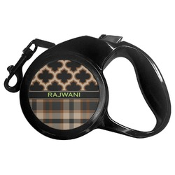 Moroccan & Plaid Retractable Dog Leash (Personalized)