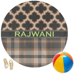 Moroccan & Plaid Round Beach Towel (Personalized)