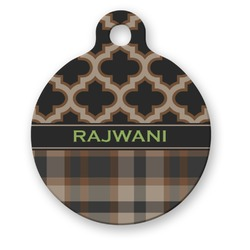Moroccan & Plaid Round Pet ID Tag (Personalized)