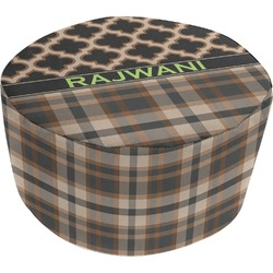 Moroccan & Plaid Round Pouf Ottoman (Personalized)