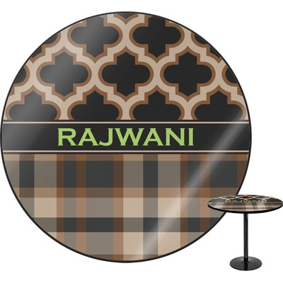 Moroccan & Plaid Round Table (Personalized)