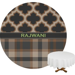 Moroccan & Plaid Round Tablecloth (Personalized)