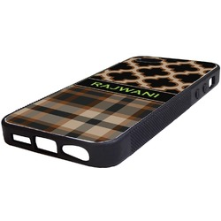 Moroccan & Plaid Rubber iPhone 5/5S Phone Case (Personalized)