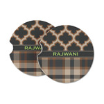 Moroccan & Plaid Sandstone Car Coasters (Personalized)