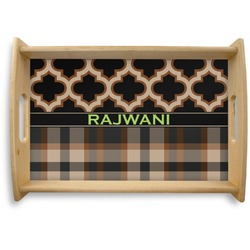 Moroccan & Plaid Natural Wooden Tray (Personalized)
