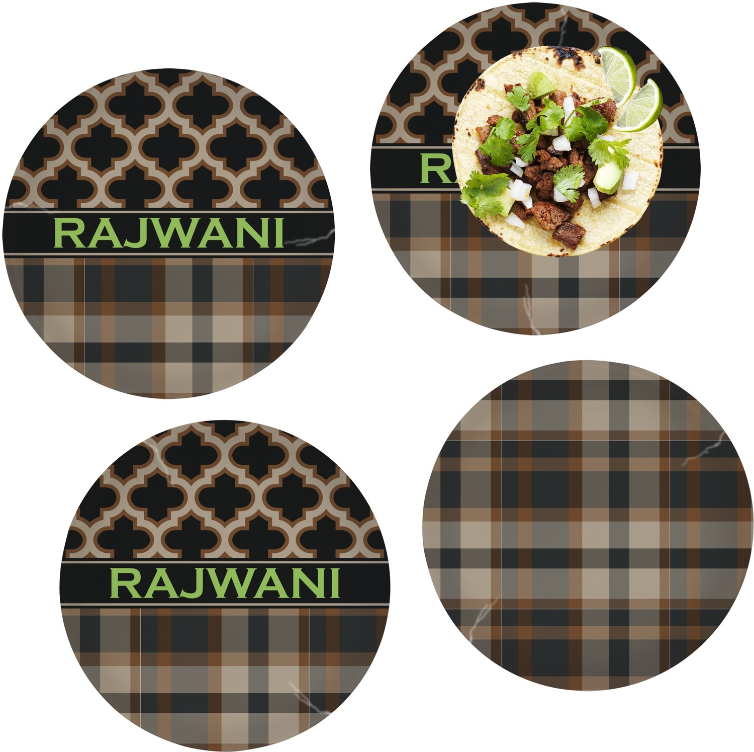 Moroccan \u0026 Plaid Set of 4 Lunch / Dinner Plates (Glass) (Personalized)  sc 1 st  YouCustomizeIt & Moroccan \u0026 Plaid Set of 4 Lunch / Dinner Plates (Glass ...