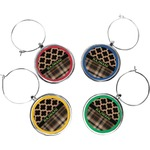Moroccan & Plaid Wine Charms (Set of 4) (Personalized)