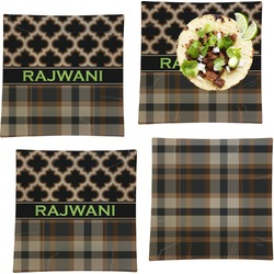 Moroccan & Plaid Set of 4 - Square Dinner Plates (Personalized)