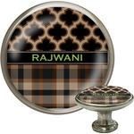 Moroccan & Plaid Cabinet Knob (Silver) (Personalized)