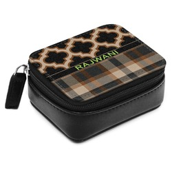 Moroccan & Plaid Small Leatherette Travel Pill Case (Personalized)