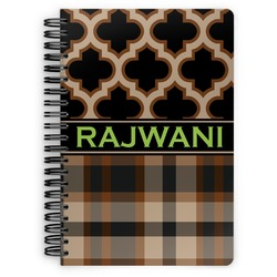Moroccan & Plaid Spiral Bound Notebook (Personalized)