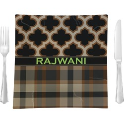 "Moroccan & Plaid 9.5"" Glass Square Lunch / Dinner Plate- Single or Set of 4 (Personalized)"