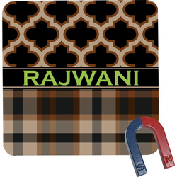 Moroccan & Plaid Square Fridge Magnet (Personalized)