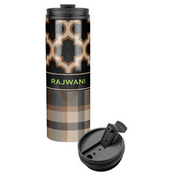 Moroccan & Plaid Stainless Steel Travel Tumbler (Personalized)