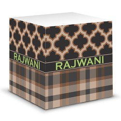 Moroccan & Plaid Sticky Note Cube (Personalized)