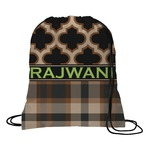 Moroccan & Plaid Drawstring Backpack (Personalized)