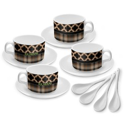 Moroccan & Plaid Tea Cup - Set of 4 (Personalized)