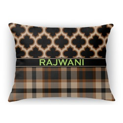 Moroccan & Plaid Rectangular Throw Pillow Case (Personalized)