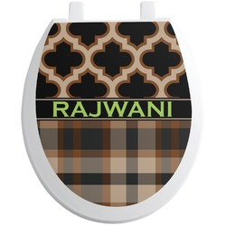 Moroccan & Plaid Toilet Seat Decal (Personalized)
