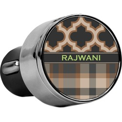 Moroccan & Plaid USB Car Charger (Personalized)