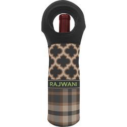 Moroccan & Plaid Wine Tote Bag (Personalized)
