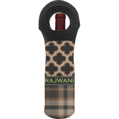 Moroccan & Plaid Wine Tote Bag (Personalized)