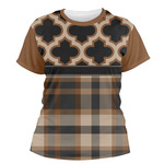 Moroccan & Plaid Women's Crew T-Shirt (Personalized)