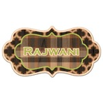Moroccan & Plaid Genuine Maple or Cherry Wood Sticker (Personalized)