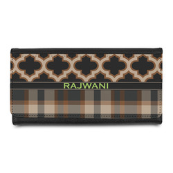 Moroccan & Plaid Leatherette Ladies Wallet (Personalized)