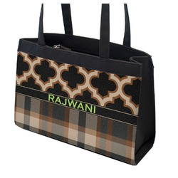 Moroccan & Plaid Zippered Everyday Tote (Personalized)