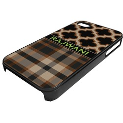 Moroccan & Plaid Plastic 4/4S iPhone Case (Personalized)