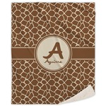 Giraffe Print Sherpa Throw Blanket (Personalized)