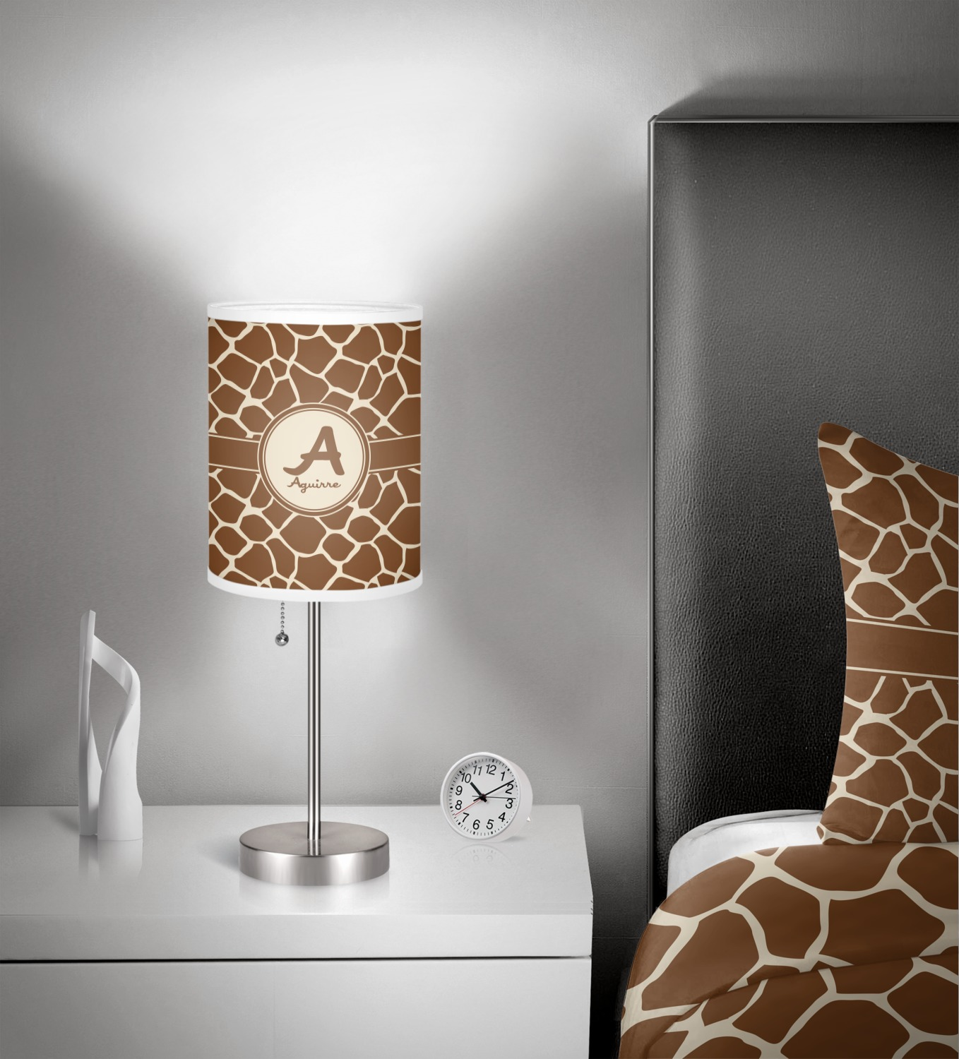 Giraffe Print Cylinder Lamp Shade 7 Inch Drum In Room